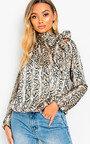 Mandi Tie Neck Print Blouse Shirt Thumbnail