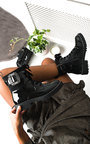 Mariah Embellished Brooch Biker Boots Thumbnail