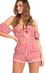 Marnie Off Shoulder Stripe Playsuit Thumbnail