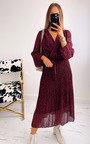May Leopard Print Pleated Maxi Dress Thumbnail