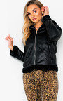 Megh Faux Fur Collared Faux Leather Jacket Thumbnail