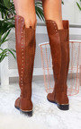 Melba Faux Leather Over Knee Boots Thumbnail