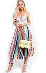 Melinda Pleated Stripe Midi Skirt Thumbnail