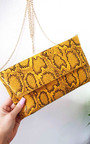Melinda Snake Print Envelope Clutch Bag Thumbnail
