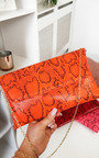 Melinda Snake Print Envelope Clutch Bag Thumbnail
