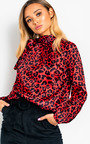 Melly Tie Neck Print Blouse Shirt Thumbnail