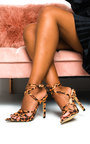 Mia Printed Strappy Pointed High Heels  Thumbnail