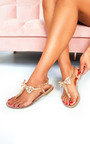 Michaela Embellished T Bar Sandals  Thumbnail