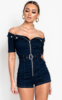 Miley Zip Up Denim Playsuit  Thumbnail