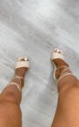 Mills Braided Lace Up High Heels  Thumbnail