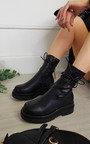 Mina Chunky Lace Up Zipped Boots Thumbnail