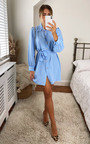 Mindy Belted Puff Sleeve Shirt Dress with bag Thumbnail