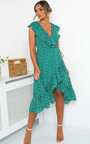 Mindy Polka Dot Wrap Midi Dress Thumbnail