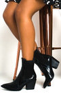 Miranda Cowboy Block Heel Ankle Boots Thumbnail