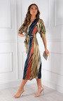 Misona Tie Waist Wrap Printed Midi Dress  Thumbnail
