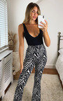 Misty Zebra Print High Waist Flared Trousers Thumbnail
