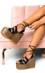 Molly Lace Up Wedged Heels Thumbnail