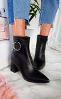 Mona Faux Leather Ring Ankle Boots Thumbnail