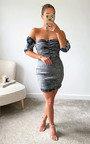 Mona Off Shoulder Denim Mini Dress Thumbnail