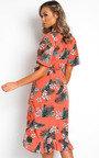Monah Printed Frill Midi Dress Thumbnail