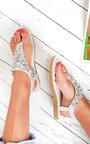 Monika Clustered Sequin Embellished Sandals Thumbnail