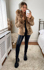 Monikh Faux Fur Belted Coat Thumbnail