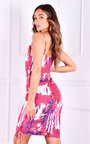 Morgan Scoop Neck Tie Up Side Printed Mini Dress Thumbnail