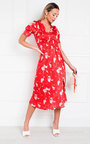 Mulan Patterned Frill Midi Dress Thumbnail