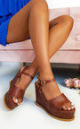 Myla Peep Toe Faux Leather Wedges Thumbnail