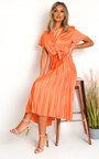 Natalia Satin Pleat Midi Dress Thumbnail