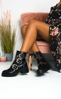 Nealy Buckle Studded Biker Boots  Thumbnail
