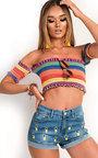 Neela Pineapple Mid-Rise Denim Shorts Thumbnail