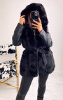 Nelly Faux Fur and Leather Belted Jacket with Hood Thumbnail