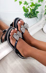 Nina Diamante Bow Flip Flop Sandals Thumbnail
