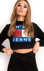 Nina Slim Fit Cropped Slogan Tracksuit Thumbnail