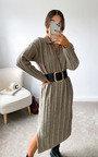 Noelle Collared Knitted Midi Dress Thumbnail