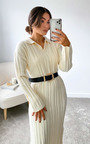 Noelle Collared Knitted Midi Dress Thumbnail