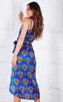 Noor Printed Wrap Midi Dress Thumbnail