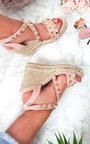 Nori Faux Suede Studded Roped Wedges Thumbnail