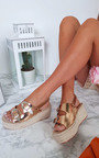 Olivia Double Buckle Wedged Sandals Thumbnail