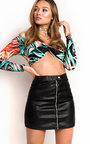 Olivia Knot Front Tropical Crop Top Thumbnail
