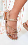 Onyx Diamante Embellished Strappy Sandals Thumbnail