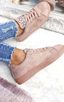 Orla Faux Suede Embellished Trainers Thumbnail
