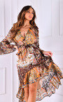 Pamela Printed Ruffle Design Midi Dress Thumbnail