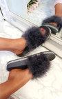 Paris Faux Fur Diamante Feather Sliders Thumbnail