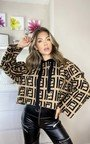 Penelope Printed Hooded Knitted Jumper Thumbnail