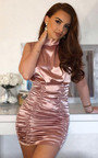 Penelope Satin Gathered High Neck Dress Thumbnail