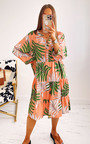 Pennie Printed Midi Shirt Dress in Plus Size Thumbnail