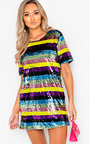 Peppa Sequin Striped Oversized T-Shirt Dress Thumbnail
