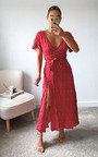 Perrie Thigh Split Hem Printed Midi Dress Thumbnail
